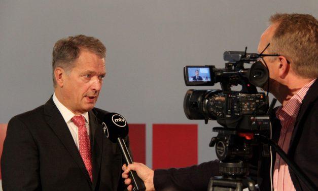 Presidentti Sauli Niinistö Frankfurtin kirjamessuilla 2014